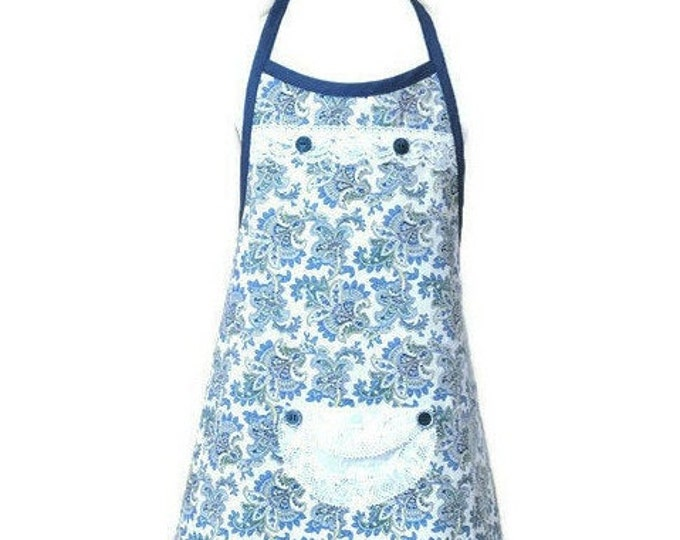 Blue, Yellow, Green Paisley Girl's Apron / Apron for Girls Size 5-6