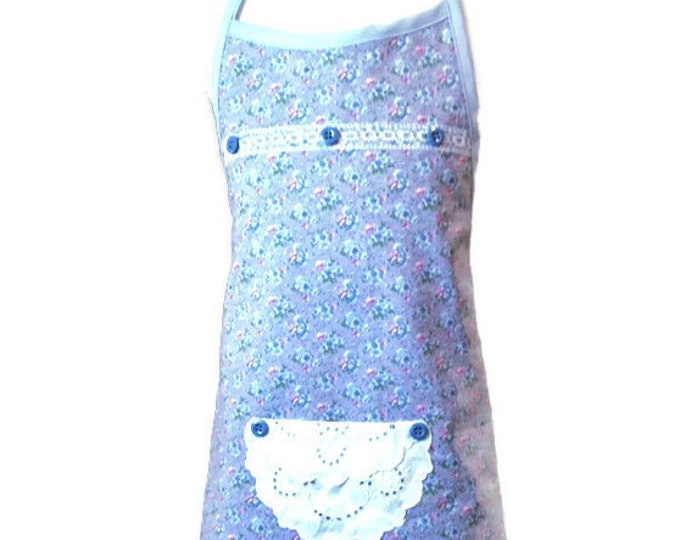 Blue & Pink Floral Print Apron on Purple / Apron for Girls Size 5-6
