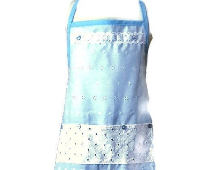 Blue And White Eyelet Fabric and Lace Apron / Apron for Girls Size 5-7