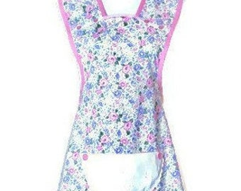 Spring Floral Print Old-Fashioned Apron / Apron for Woman Size M-L