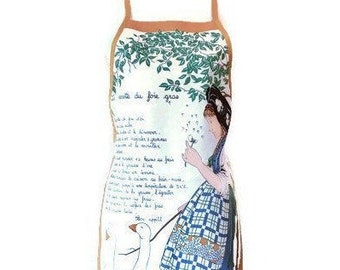 French Theme Apron with Recipe for Fois Gras / French Tea Towel Apron / Upcycled Apron for Women Size S-M