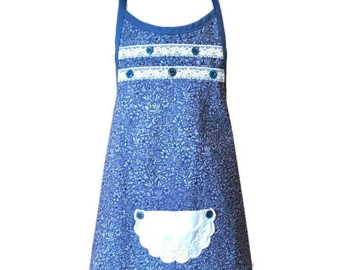Girls' Apron from Blue Floral and Leaf Print Fabric / Girl's Apron Size 7-8