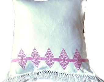 Fringed Pillow Featuring Vintage Huck Toweling and Stitching / Swedish Weave Pillow
