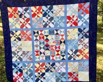 Disappearing Hourglass Large Lap Quilt / 66x66 Inch Square Quilt / Finished Quilt