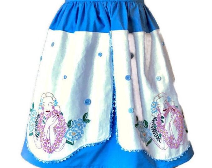 Hawaiian Theme Half Apron Featuring Vintage Dresser Scarf / Half Apron for Women Sizes S-XL
