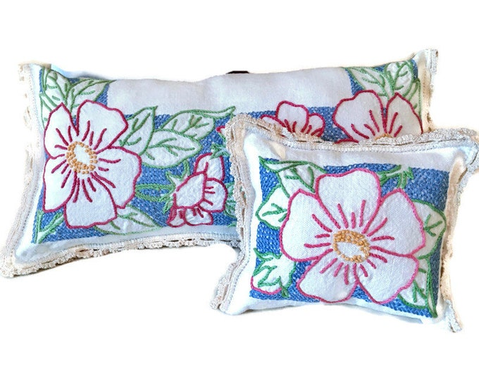 Set of 2 Cross Stitch and Embroidery Mini Decorative Shelf Pillows / Upcycled Pillow Set