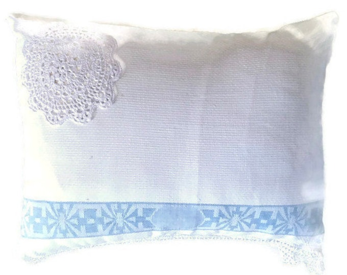 Decorator Pillow with Vintage Linen Towel Cover in White and Blue / Pillow Size 18x14