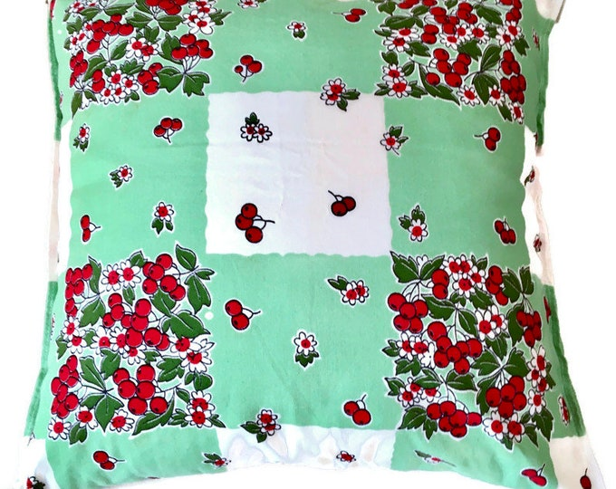 Cherry and Floral Print Pillow on Green and White Checked Pillow Made From Vintage Tea Towel