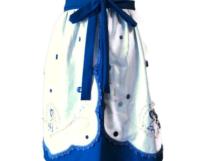 Upcycled Dresser Scarf Half Apron in Blue