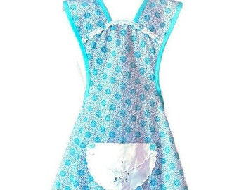 Turquoise Old-Fashioned Apron For Woman Fits Sizes XS-S