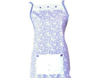 Purple Floral and Butterfly Print Full-Length Apron / Apron for Women Size M-L