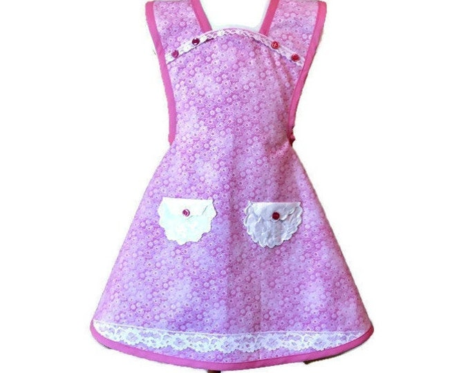 Pink Daisy Print Girl's Old-Fashioned Apron / Apron for Girls Size 5-6