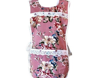 Dusty Rose Floral Cobbler Apron / Cobbler Apron for Woman Size S-L
