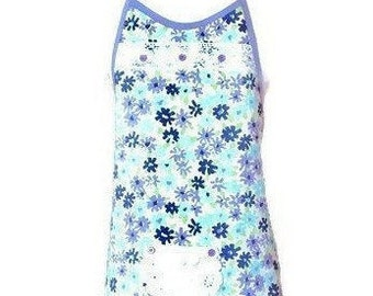 Purple and Turquoise Floral Vintage Fabric Apron / Women's Apron Size XS-S