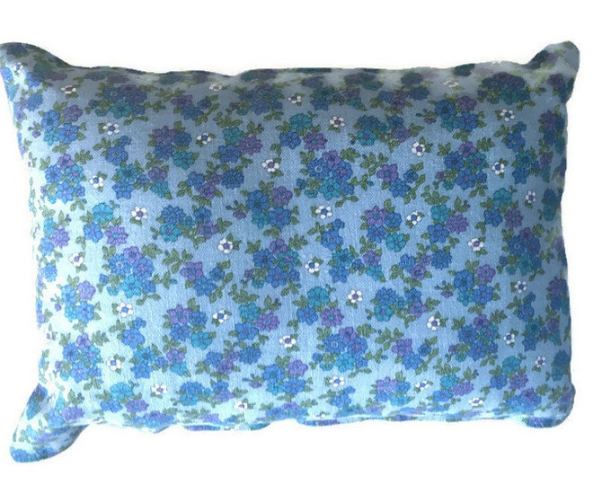 Rectangle Decorator Pillow Featuring Blue Floral Vintage Fabric and Hand Towel / 18 x 14 Pillow
