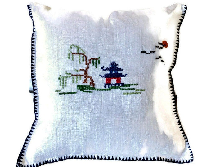 Mini Pillow With Asian-Themed Cross Stitch / Pillow Made From Vintage Linen