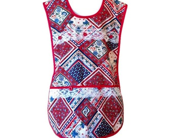 Red and Blue Country Print Plus Size Cobbler Apron for Woman Fits Sizes 2X or 3X