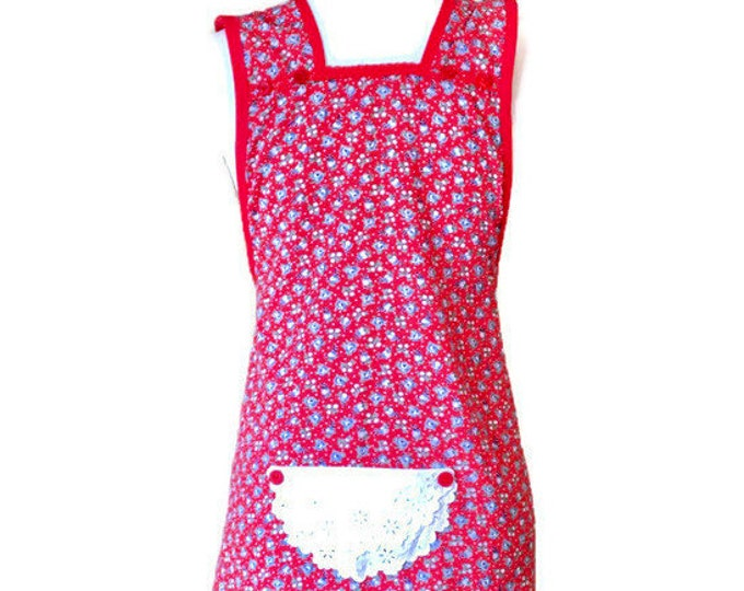 Red Floral Farmhouse Apron / Over-The-Head Apron / Apron for Women Size S to XL