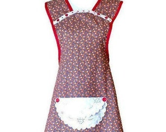 Red Country Floral Print Old-Fashioned Apron / Retro Apron / Farm Apron / Apron for Woman Size M-L