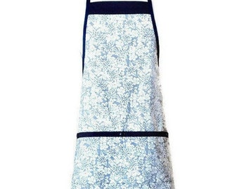 Navy Blue and Cream Floral Apron / Blue Apron for Women Fits Sizes M or L