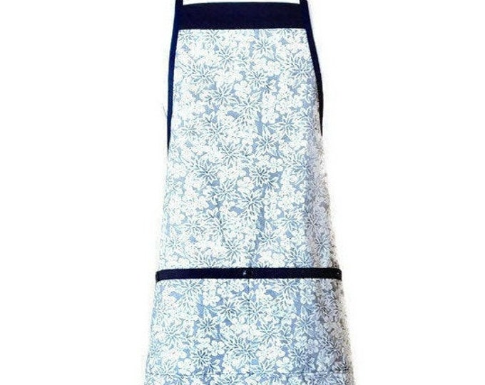 Navy Blue and Cream Floral Apron / Blue Apron for Women