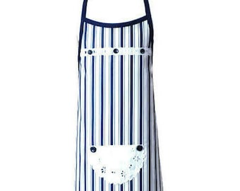 Blue and White Striped Apron / Apron for Girls Size 7-8