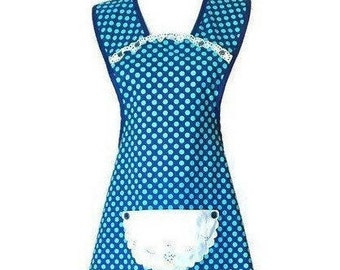 Old-Fashioned Apron in Navy with Green Polka Dots / Apron for Women Size M-L