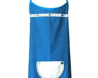 Turquoise Geometric Print Plus Size Apron / Turquoise Plus Size Apron for Women / Fits Sizes 1X through 3X