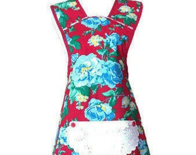 Turquoise Roses on Red Old-Fashioned Apron from Vintage Fabric / Women's Old-Fashioned Apron Size M-L