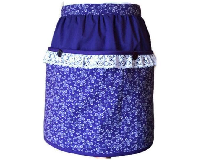 Half Apron in Purple With Three Large Pockets / Vendor Apron / Server Apron / Gardening Apron / Half Aprons for Women Size S-L