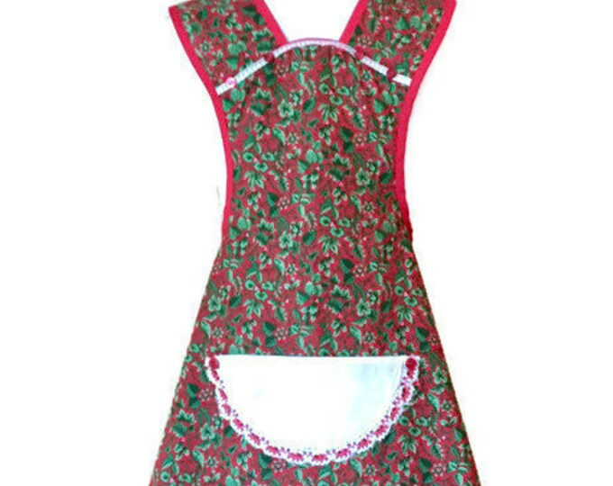 Red and Green Old-Fashioned Apron / Apron for Women Size XS-S
