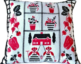 Red, Black and White Garden Theme Decorator Pillow / Upcycled Tea Towel Pillow / Retro Pillow