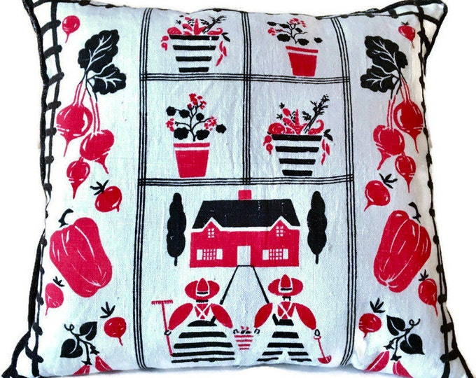 Red, Black and White Garden Theme Decorator Pillow / Upcycled Tea Towel Pillow / Retro Pillow