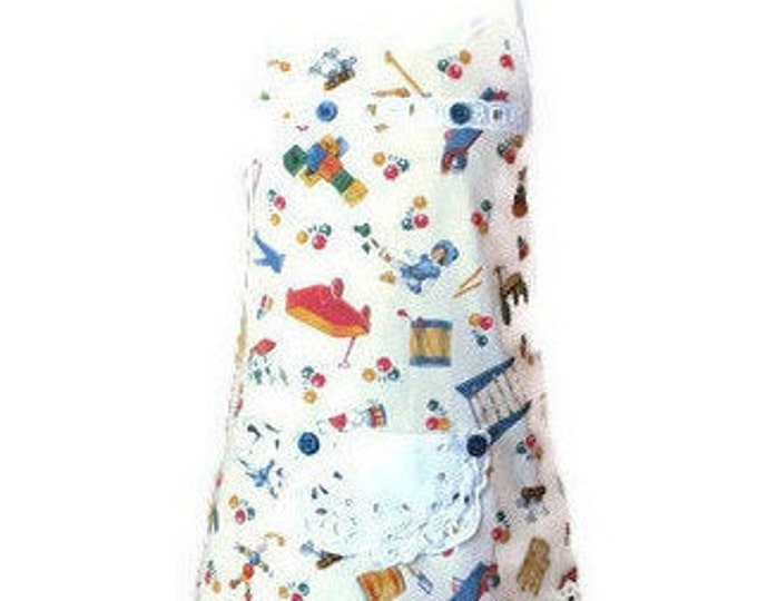 Girl's Apron from Vintage Toys Print / Apron for Girls Size 3-4