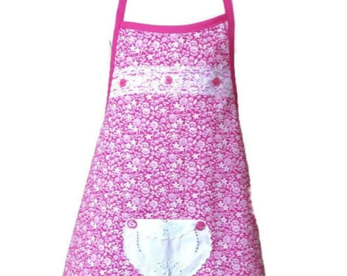 Size 7-8 Dark Pink Floral Girl's Apron