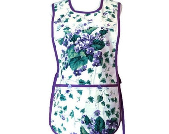 Purple and Green Floral and Vine Cobbler Apron / Side-Tie Apron / Cobbler Apron Size S-L