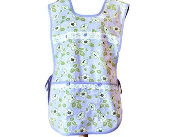 Purple and Green Floral Plus Size Cobbler Apron with Pockets / Side-Tie Apron for Women Size XL-1X-2X