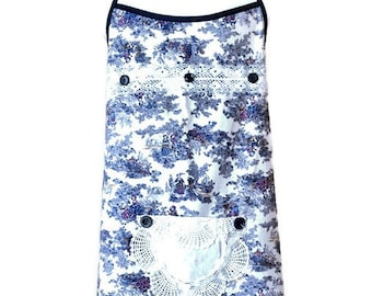 Blue Toile-Look Plus Size Apron / Apron for Plus Size Woman / One Size Fits 1X-2X-3X