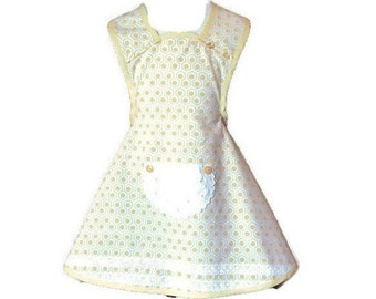 Girl's Yellow and White Geometric Print Apron / Girl's Apron Size 5-6
