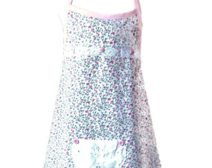 Size 7-8 Light Pink Floral Apron for Girls