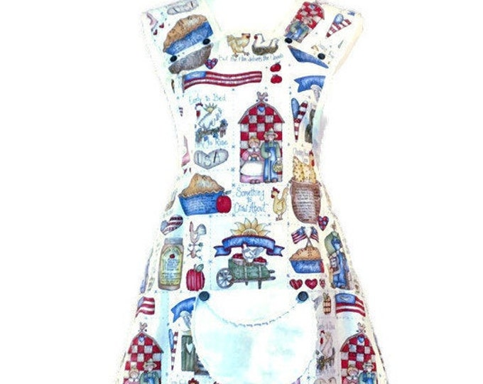 America and Apple Pie Old-Fashioned Apron / Apron for Women Size M-L
