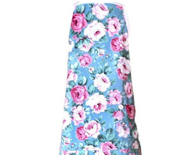 Blue Apron with Pink Rose Print / Apron for Women Size M-XL