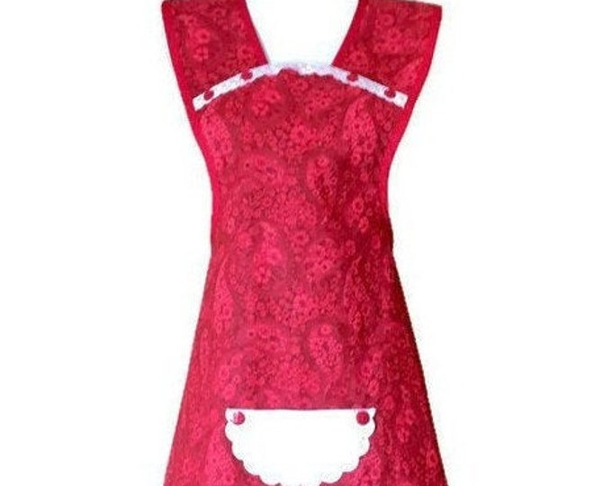Red Batik Fabric Old-Fashioned Apron / Apron for Woman Size M-L