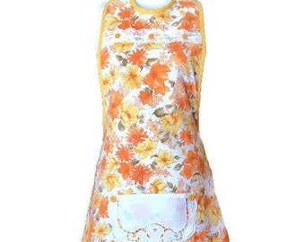 Yellow and Orange Vintage Fabric Apron / Apron for Women Size M-L