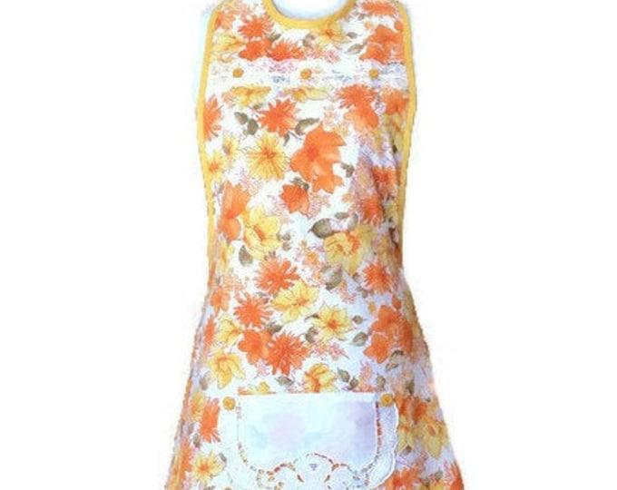 Yellow and Orange Vintage Fabric Apron / Apron for Women Size M-L