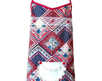 Red and Blue Country Print Plus Size Apron  / Apron for Woman One Size Fits 1X-2X-3X