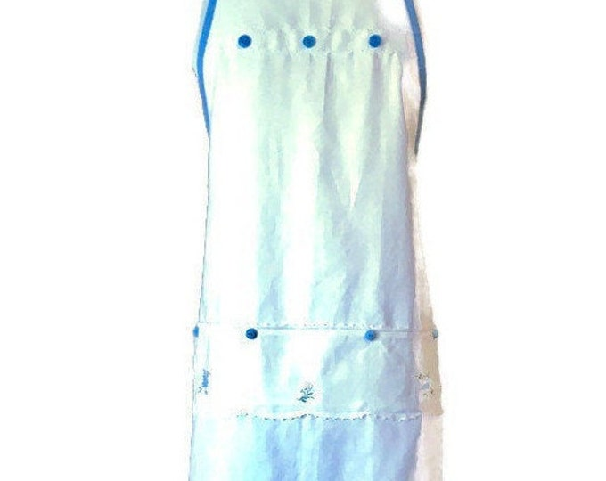 Scalloped Edge Apron from Vintage White Hand Towel / Full-Length Apron for Women Size XS-M