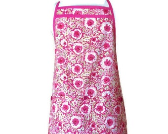 Bold and Light Pink Floral Pleated Hemline Apron / Apron for Women