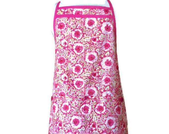 Bold and Light Pink Floral Pleated Hemline Apron / Apron for Women Fits Sizes L or Xl