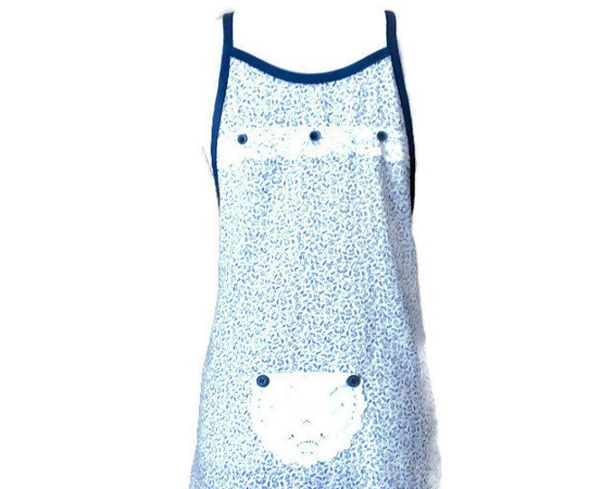 Blue and White Floral Preteen Apron / Apron for Girls Size 10-12
